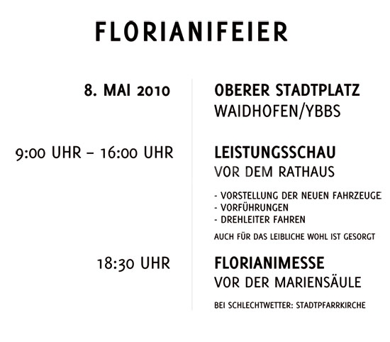 Florianifeier am 8. Mai am Oberern Stadtplatz; 9-16 Uhr Leistungsschau, 18:30 Uhr Feldmesse